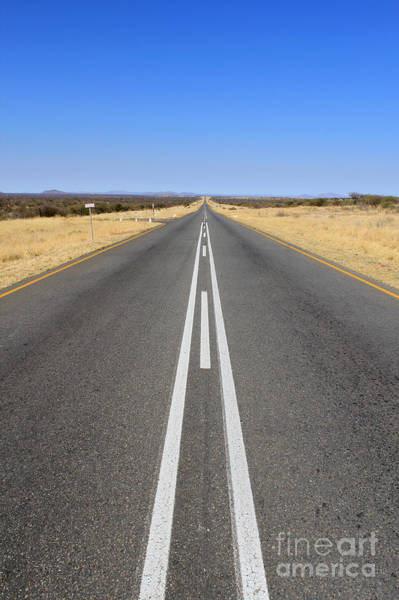 Route Photograph - B1 Road In Namibia Heading Toward by Carlos Neto