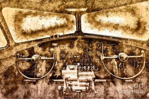 Photograph - B17 Controls by Matthew Nelson