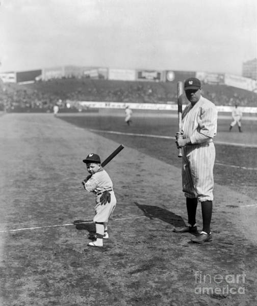Wall Art - Photograph - Babe Ruth And The Team Mascot by Jon Neidert