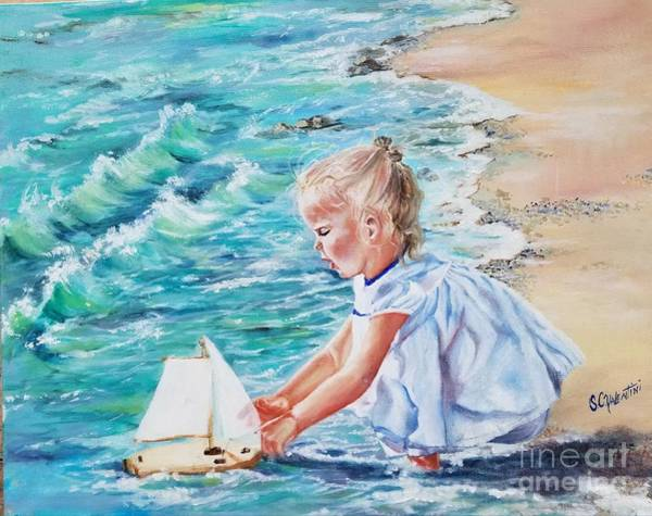 Wall Art - Painting - Babies,beaches,and Boats by Sandra Valentini