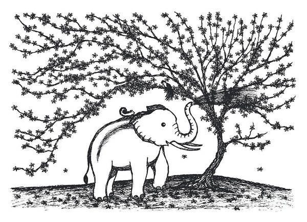 Olive Branch Drawing - Baby Elephant Playing Water Under Flower Tree Illustration Desig by Benjavisa Ruangvaree