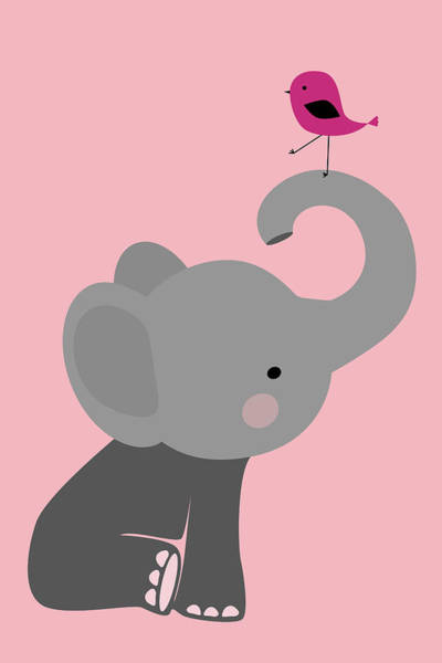 Wall Art - Digital Art - Baby Elephant With Bird by Mihaela Pater