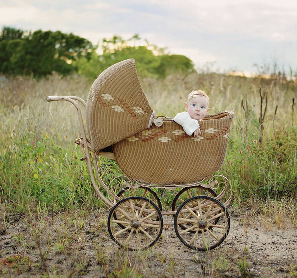 Wall Art - Photograph - Baby Girl In Baby Buggy by Kari Layland