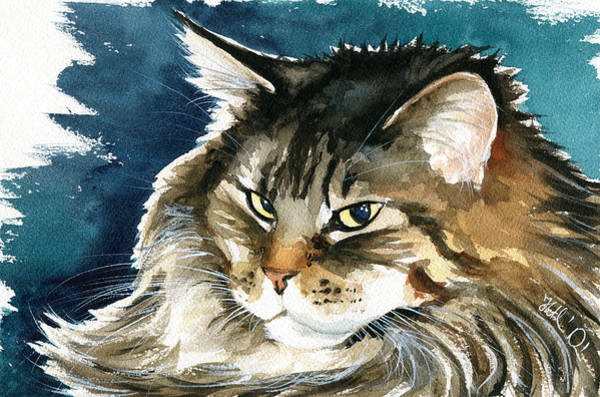 Painting - Baby Maine Coon Portrait by Dora Hathazi Mendes