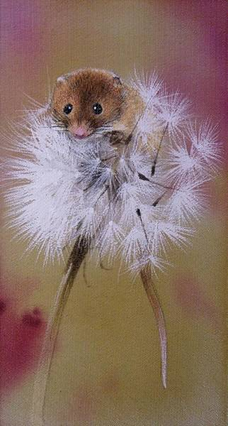 Painting - Baby Mouse On Dandelion by Alina Oseeva