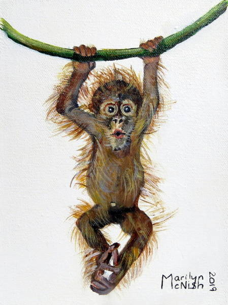 Painting - Baby Orangutan by Marilyn McNish