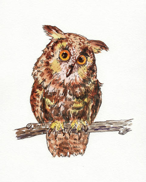 Painting - Baby Owl Watercolor For Baby Room  by Irina Sztukowski