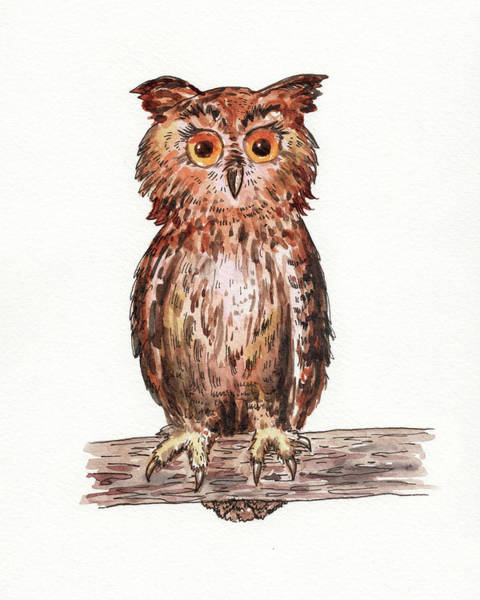Painting - Baby Owl Watercolour For Baby Room  by Irina Sztukowski