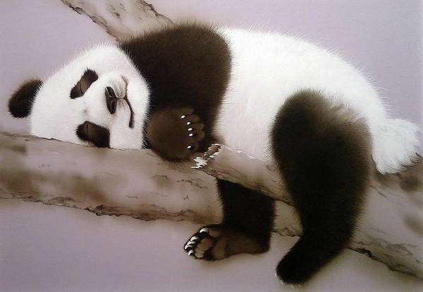Painting - Baby Panda In Sweet Dream by Alina Oseeva