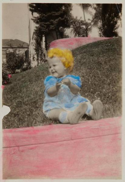 Wall Art - Painting -  Baby Sitting On Grass  Ca  1940 Gelatin Silver Print With Applied Color by Celestial Images