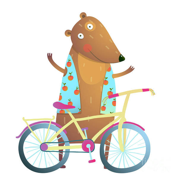 Wall Art - Digital Art - Baby Teddy Bear Character With Bicycle by Popmarleo