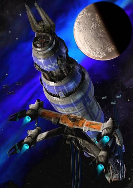 Digital Art - Babylon 5 In Space by Mario Carini