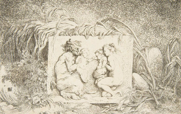 Relief - Bacchanale - Satyr And Nymph With Infant And Infant Satyr by Jean-Honore Fragonard