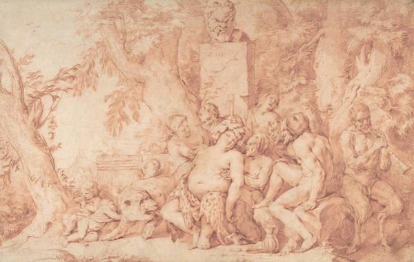Drawing - Bacchanalian Scene by Hendrick Berckman