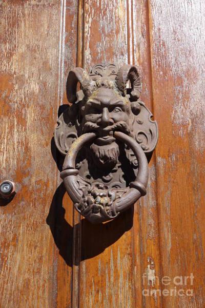 Photograph - Bacchus Door Knocker French Quarter Home  by Susan Carella