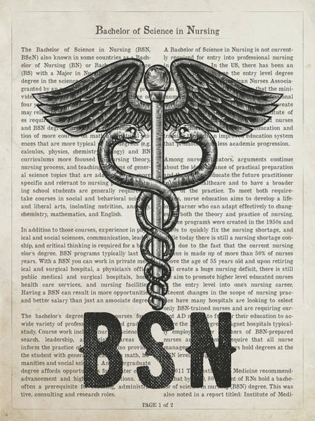 Wall Art - Digital Art - Bachelor Of Science In Nursing Gift Idea With Caduceus Illustrat by Aged Pixel