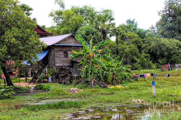Wall Art - Photograph - Back Roads Cambodian Home Landscape  by Chuck Kuhn