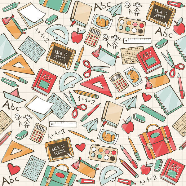 Wall Art - Digital Art - Back To School Seamless Pattern With by Elenabsl