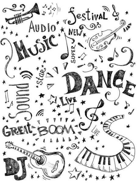 Doodle Digital Art - Background Made Up Of Music Doodles by Kalistratova