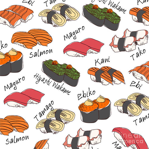 Raw Wall Art - Digital Art - Background Sushi Set, Vector by Wanpatsorn