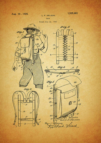 Drawing - Backpack Patent by Dan Sproul