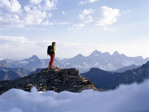 Wall Art - Photograph - Backpacker Admiring View From Mountain by Ascent/pks Media Inc.