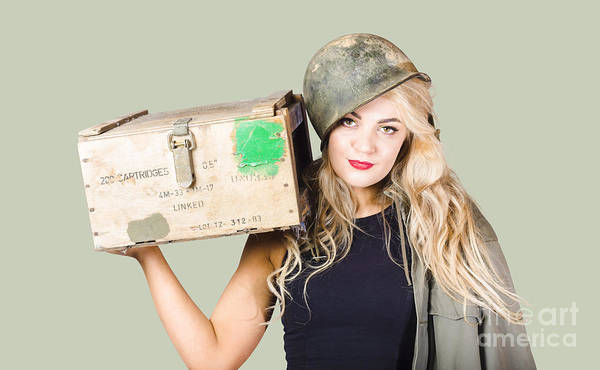 Ammo Photograph - Backup Pinup Girl Wearing Army Helmet And Supplies by Jorgo Photography - Wall Art Gallery
