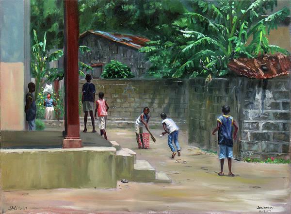 Saint Lucia Painting - Backyard Cricket by Jonathan Guy-Gladding JAG