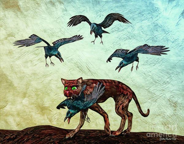 Digital Art - Bad Cat by Jutta Maria Pusl