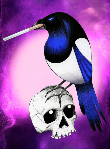 Magpies Drawing - Badass Magpie by Shawna Rowe