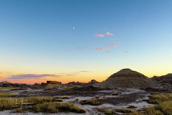 Photograph - Badlands Sunset With The Moon by Jim Thompson