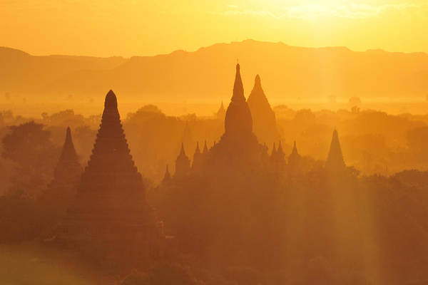 Photograph - Bagan Stupas In Sunset Light by Huang Xin