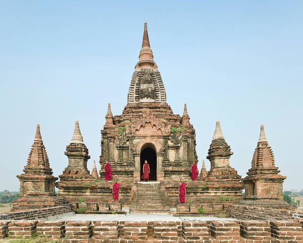 Photograph - Bagan,buddhist Monks Standing On Temple by Martin Puddy