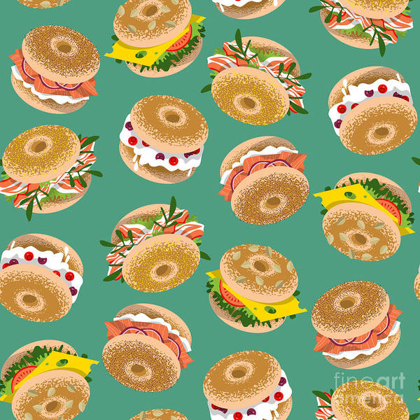 Bread Wall Art - Digital Art - Bagels With Various Topping. Seamless by Ngvozdeva