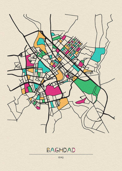 Baghdad Wall Art - Digital Art - Baghdad, Iraq City Map by Inspirowl Design