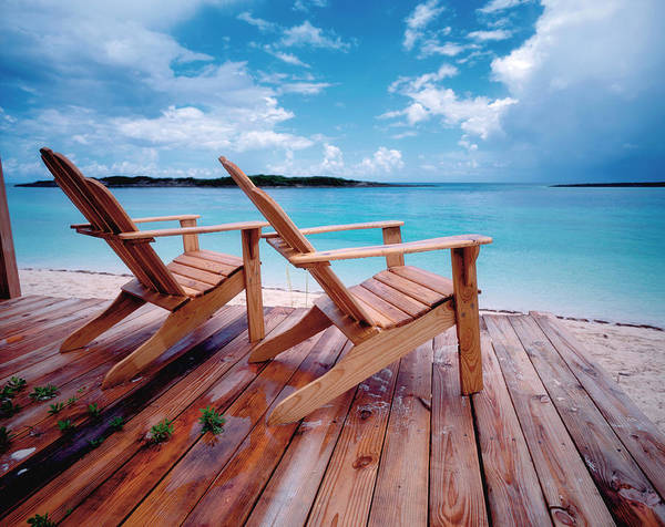 Deck Chair Photograph - Bahamas, Deck Chairs On Jetty by Westend61