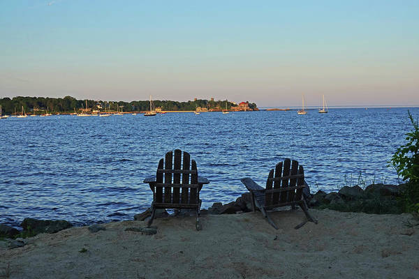 Photograph - Bailey's Point Nahant Ma Beach Nahant Harbor Adirondack Chairs by Toby McGuire