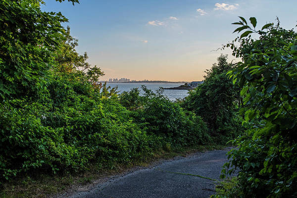 Photograph - Bailey's Point Path Nahant Ma Boston Skyline by Toby McGuire