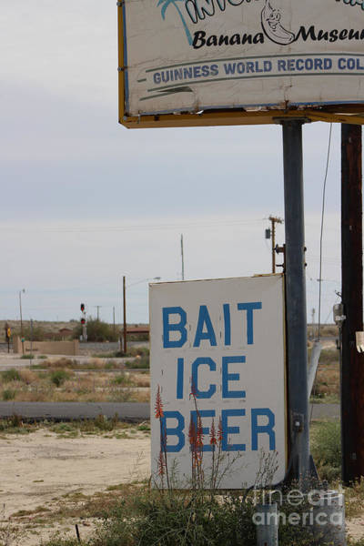 Photograph - Bait Ice Beer Sign Near Salton Sea by Colleen Cornelius