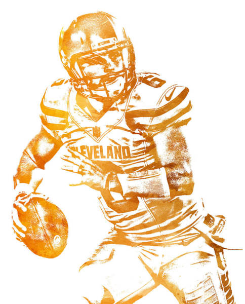 Wall Art - Mixed Media - Baker Mayfield Cleveland Brownd Water Color Art 2 by Joe Hamilton