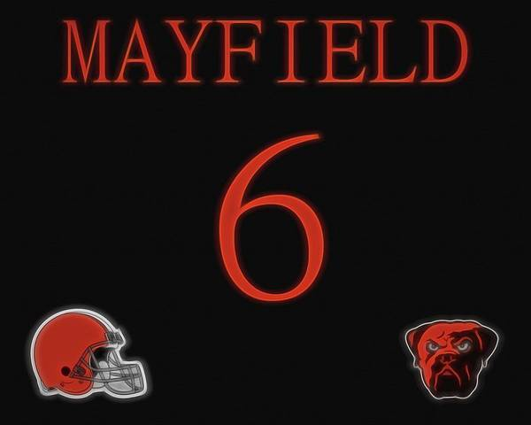 Mixed Media - Baker Mayfield Cleveland Browns by Dan Sproul