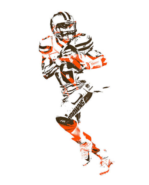 Wall Art - Mixed Media - Baker Mayfield Cleveland Browns Pixel Art 1 by Joe Hamilton