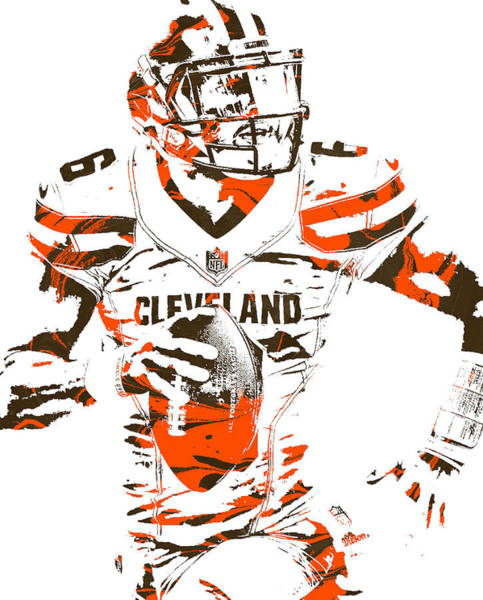 Wall Art - Mixed Media - Baker Mayfield Cleveland Browns Pixel Art 150 by Joe Hamilton