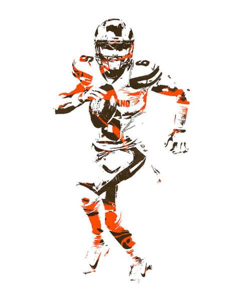 Wall Art - Mixed Media - Baker Mayfield Cleveland Browns Pixel Art 2 by Joe Hamilton