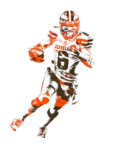 Wall Art - Mixed Media - Baker Mayfield Cleveland Browns Pixel Art 3 by Joe Hamilton