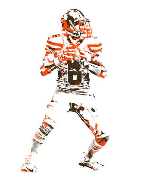 Wall Art - Mixed Media - Baker Mayfield Cleveland Browns Pixel Art 4 by Joe Hamilton