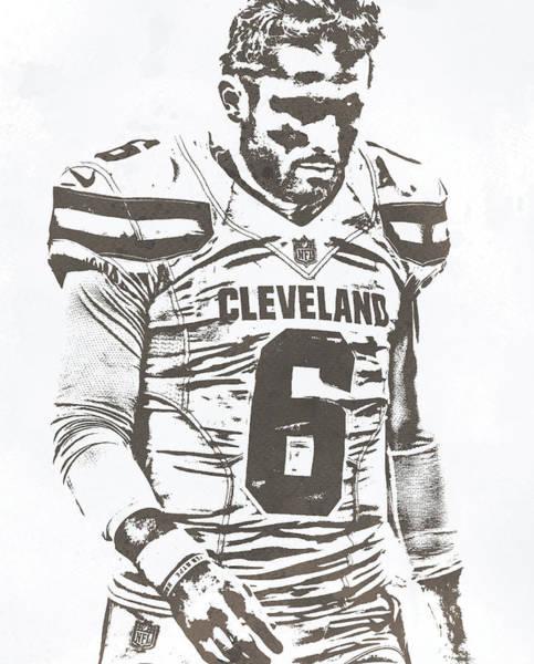 Wall Art - Mixed Media - Baker Mayfield Cleveland Browns Water Color Pixel Art 30 by Joe Hamilton