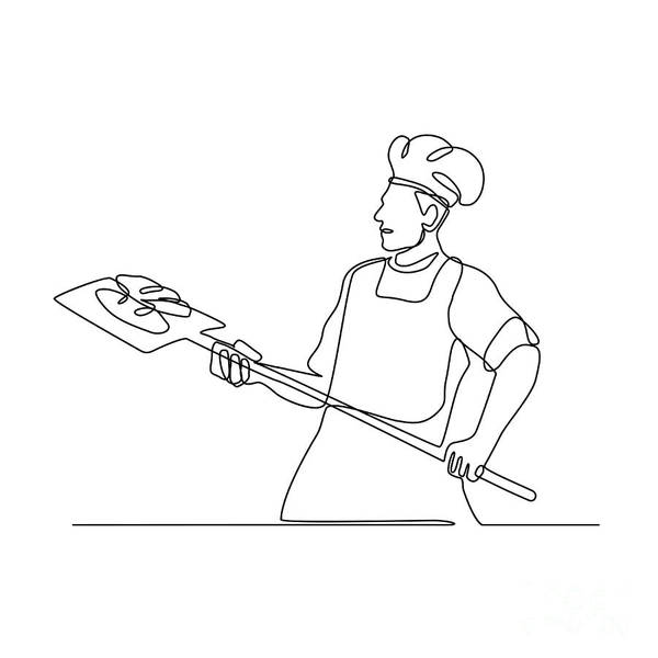 Wall Art - Digital Art - Baker With Oven Peel Continuous Line by Aloysius Patrimonio