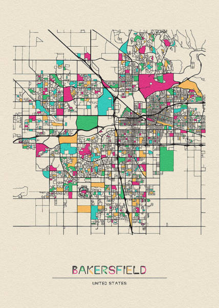 Wall Art - Digital Art - Bakersfield, California City Map by Inspirowl Design