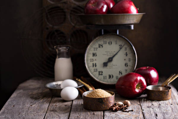Wall Art - Photograph - Baking Ingredients On Rustic Table by Elena Veselova